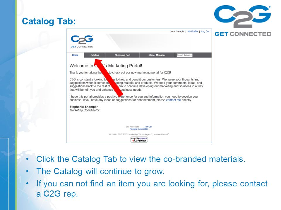 Catalog Tab: Click the Catalog Tab to view the co-branded materials.