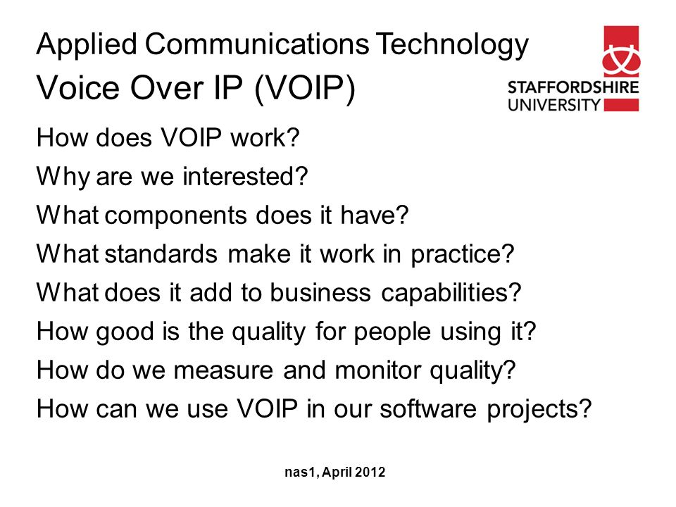 Applied Communications Technology Voice Over IP (VOIP) nas1