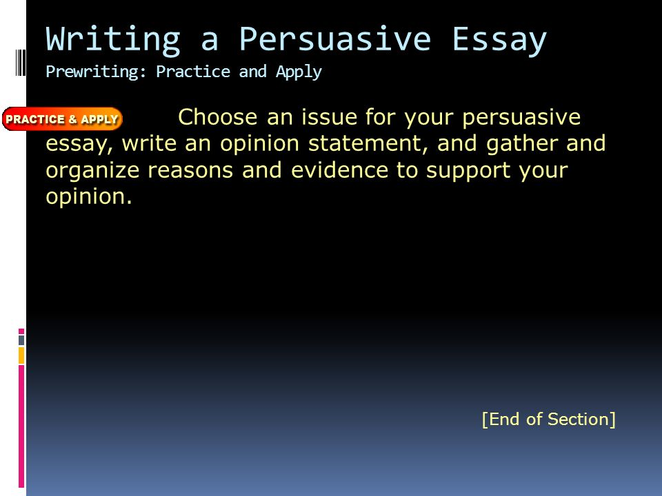 Writing a Persuasive Essay Prewriting: Practice and Apply Choose an issue for your persuasive essay, write an opinion statement, and gather and organize reasons and evidence to support your opinion.