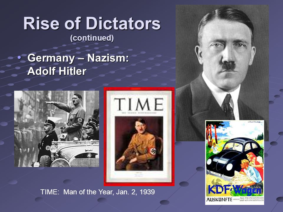 Rise of Dictators (continued) Germany – Nazism: Adolf Hitler Germany – Nazism: Adolf Hitler TIME: Man of the Year, Jan.