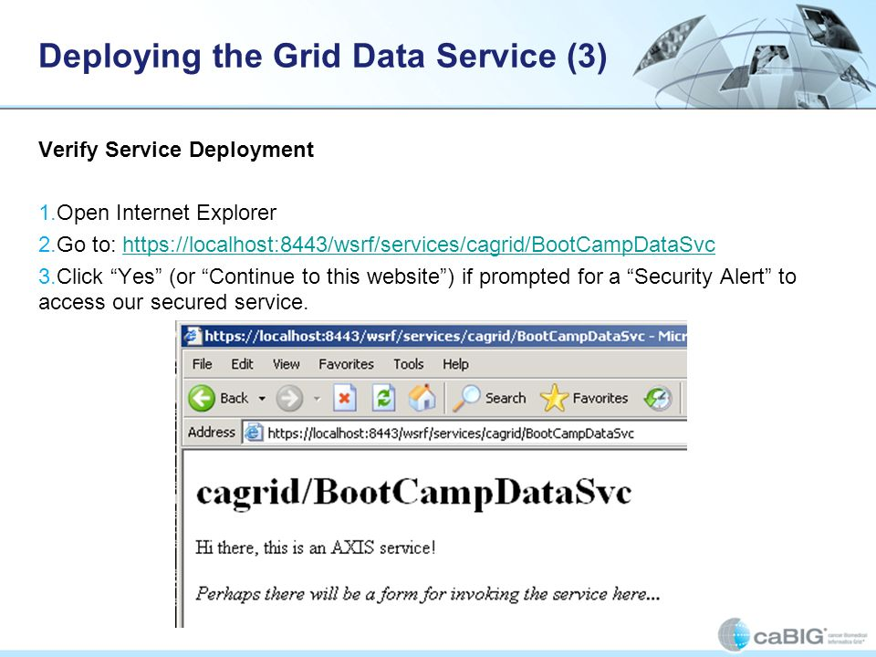 Creating a caGrid Data Service caGrid Data Service backed by