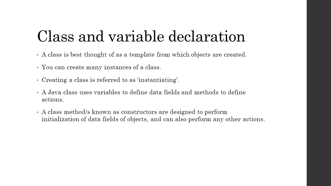 Programming In Java Unit 2 Class And Variable Declaration A Class