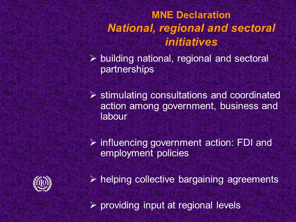 MNE Declaration National, regional and sectoral initiatives  building national, regional and sectoral partnerships  stimulating consultations and coordinated action among government, business and labour  influencing government action: FDI and employment policies  helping collective bargaining agreements  providing input at regional levels