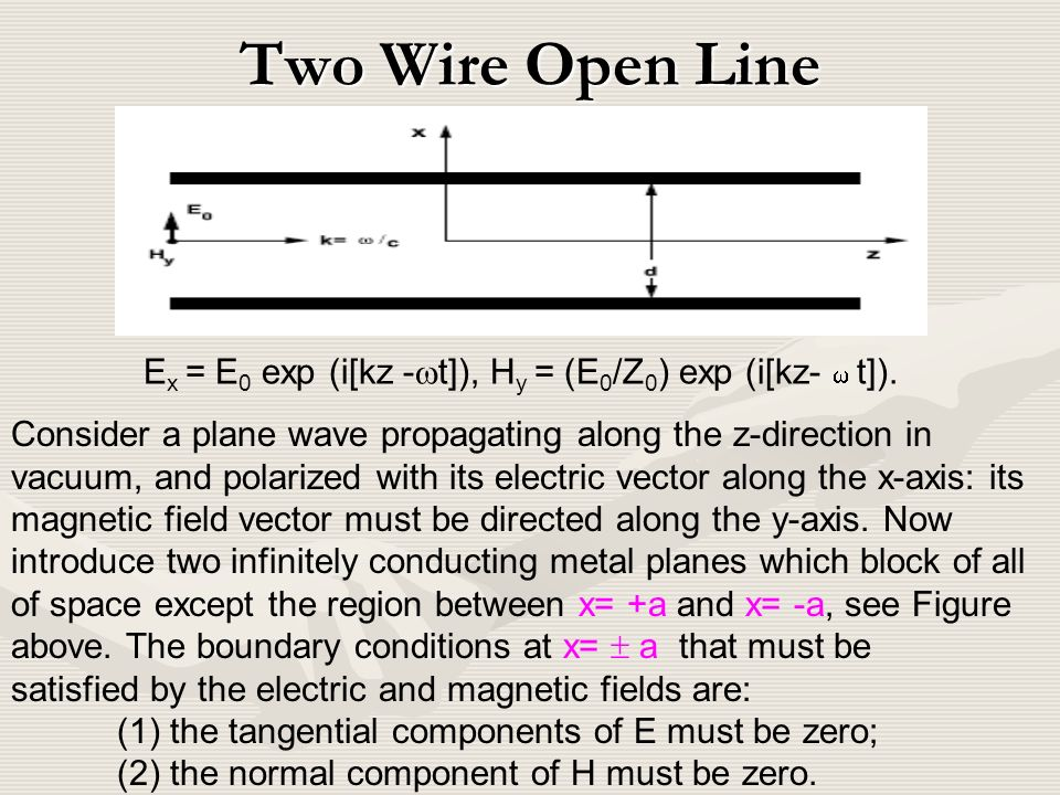 Transmission Lines d a a b w h Two wire open line Strip line Coaxial ...
