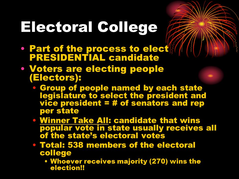 Electoral College Part of the process to elect PRESIDENTIAL candidate Voters are electing people (Electors): Group of people named by each state legislature to select the president and vice president = # of senators and rep per state Winner Take All: candidate that wins popular vote in state usually receives all of the state's electoral votes Total: 538 members of the electoral college Whoever receives majority (270) wins the election!!