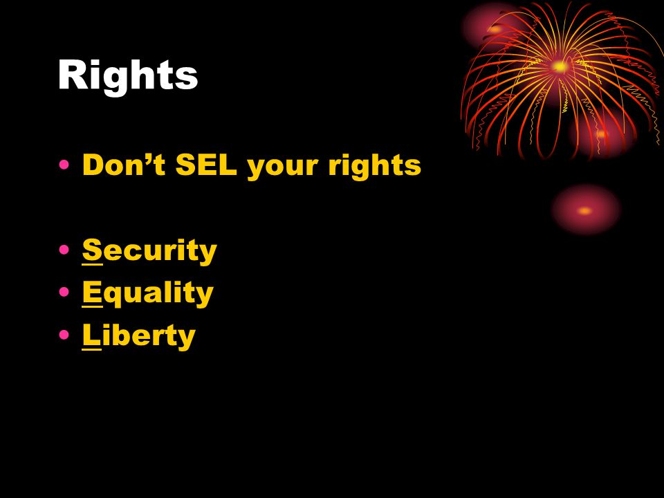 Rights Don't SEL your rights Security Equality Liberty