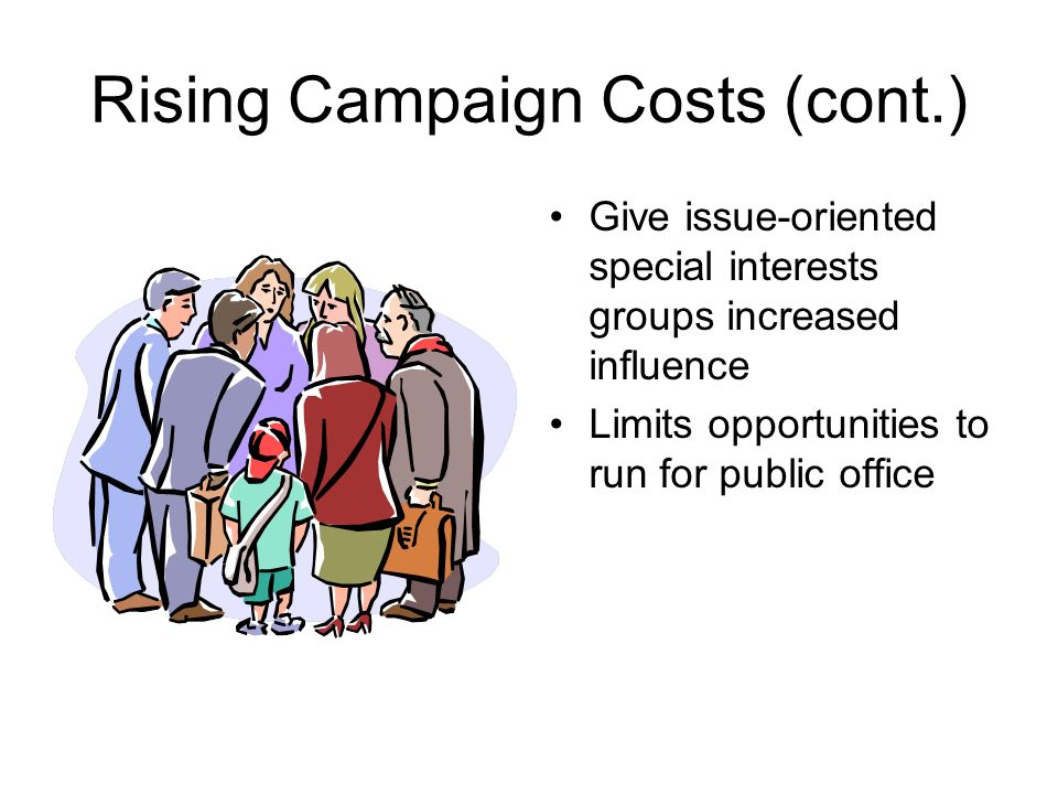 Rising Campaigns Costs Require candidates to conduct extensive fund- raising activities Give an advantage to the wealthy individuals who run for office Encourage the development of political action committees (PACS) –Special interest groups who provide money to candidates who support their cause