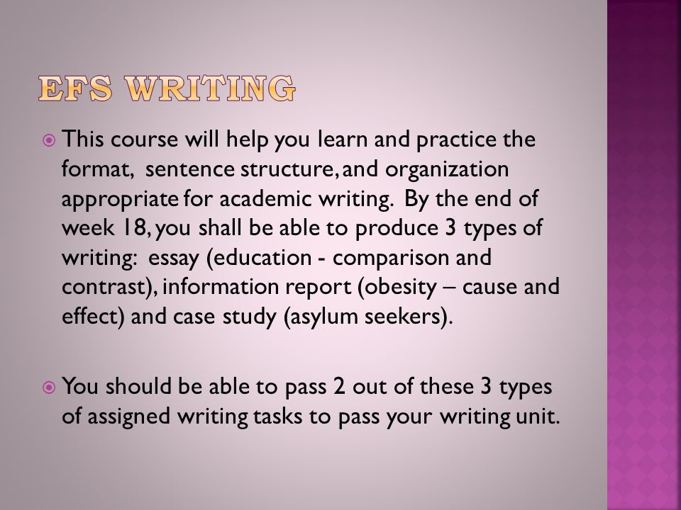  This course will help you learn and practice the format, sentence structure, and organization appropriate for academic writing.