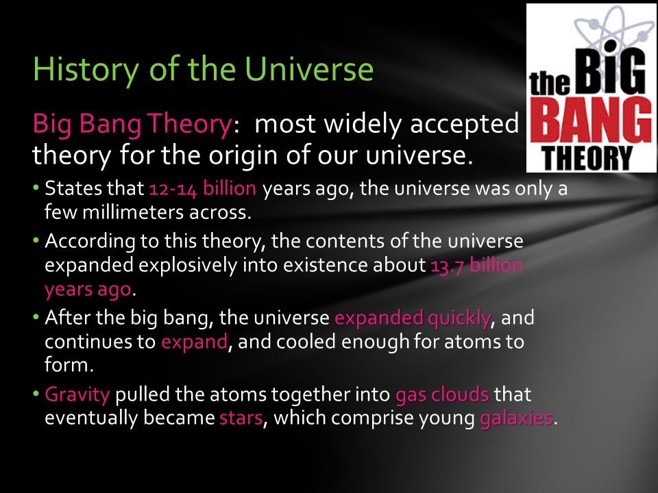 the widely accepted big bang