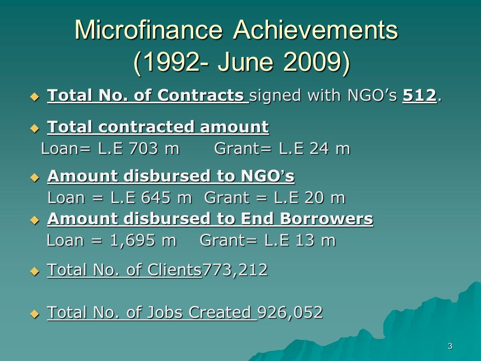 1 Social Fund for Development (SFD) Micro Finance Central