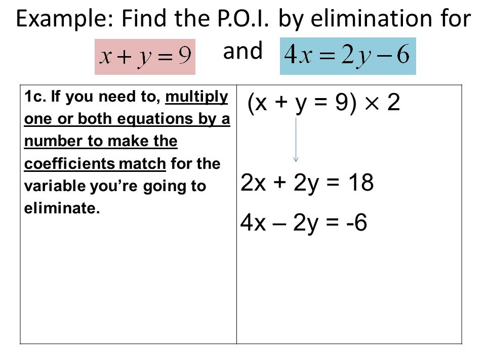 Example: Find the P.O.I. by elimination for and 1c.