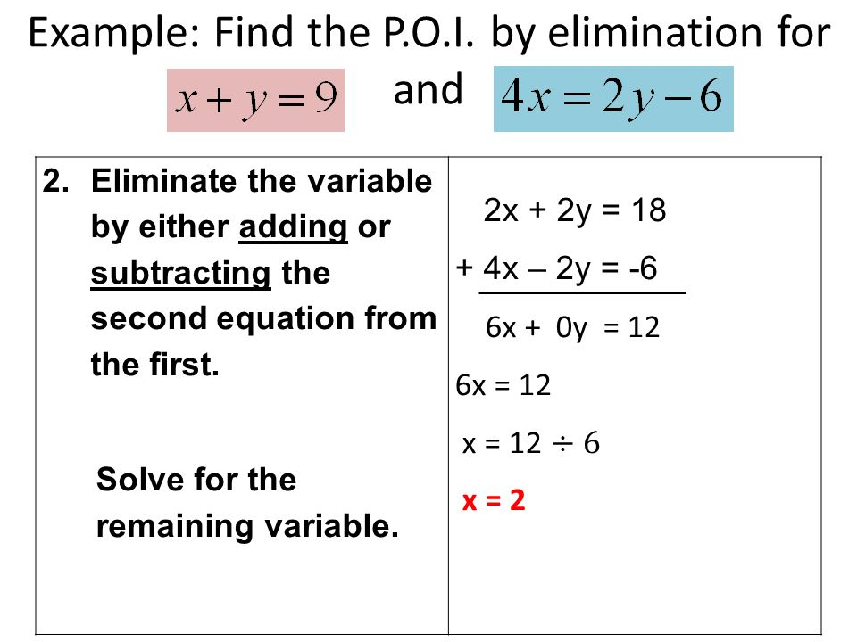 Example: Find the P.O.I.