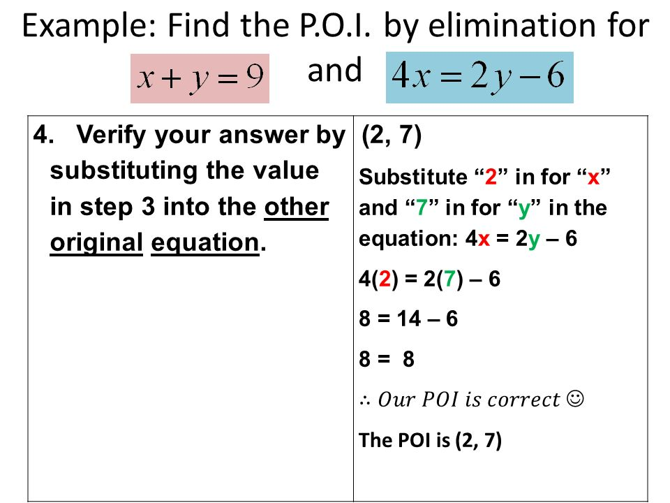 Example: Find the P.O.I. by elimination for and 4.
