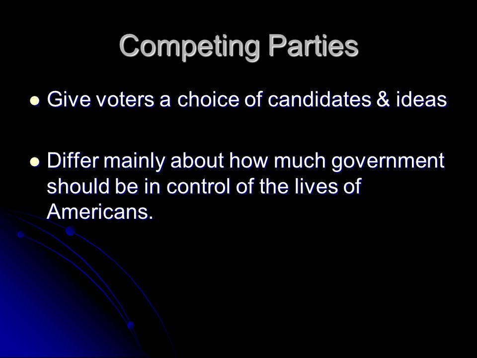 Competing Parties Give voters a choice of candidates & ideas Give voters a choice of candidates & ideas Differ mainly about how much government should be in control of the lives of Americans.