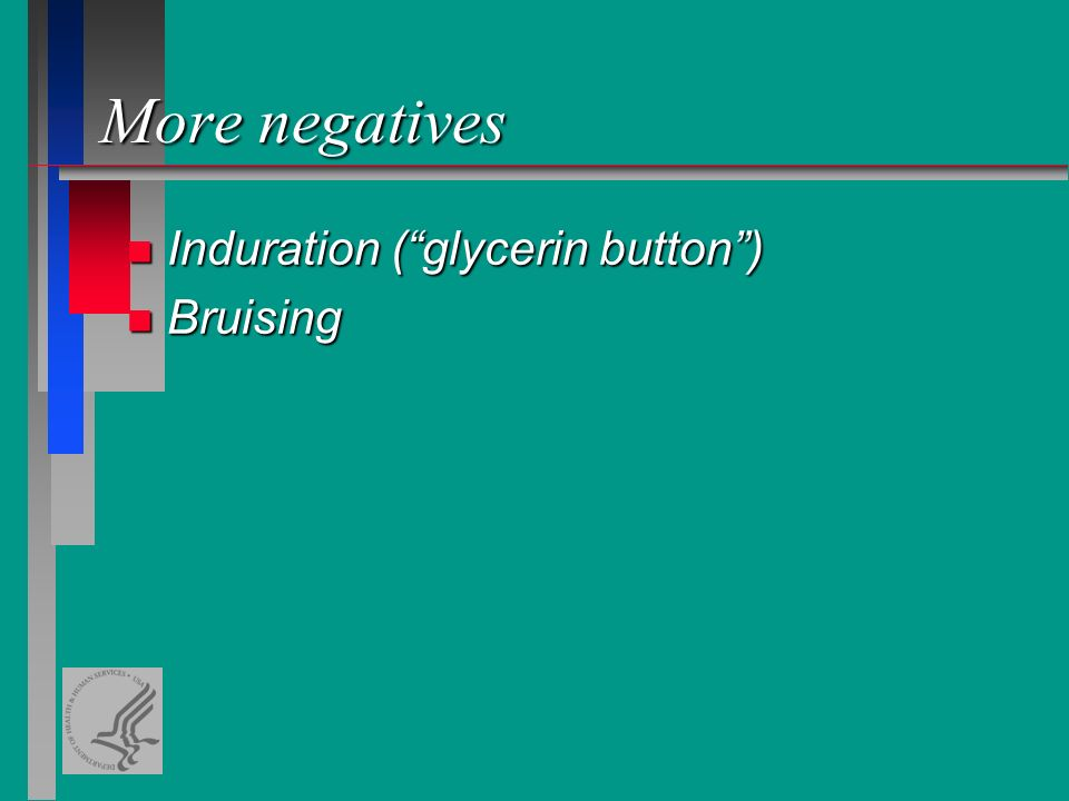 More negatives n Induration ( glycerin button ) n Bruising