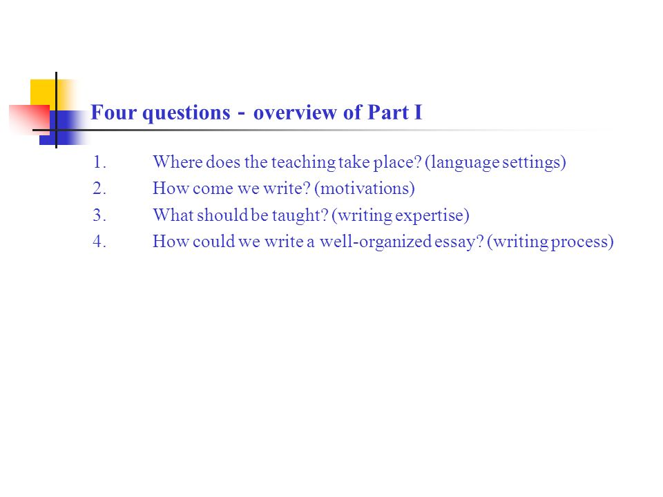 the teaching and learning of efl writing at high school by liu yun  four questions  overview of part i  where does the teaching take place business communication essay also health and social care essays political science essay topics