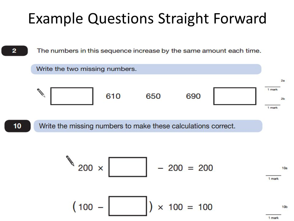 Example Questions Straight Forward