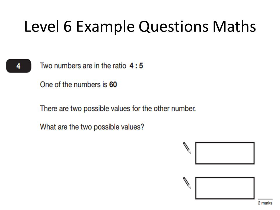 Level 6 Example Questions Maths