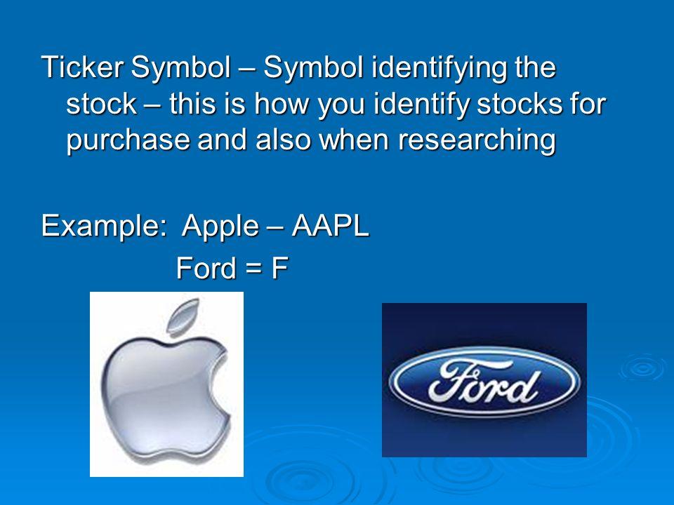 Stock Market Game Ticker Symbol Symbol Identifying The Stock