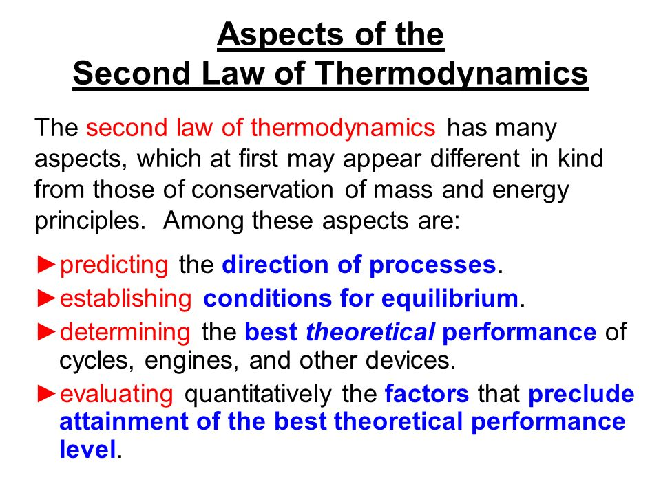 chapter 5 the second law of thermodynamics learning outcomes