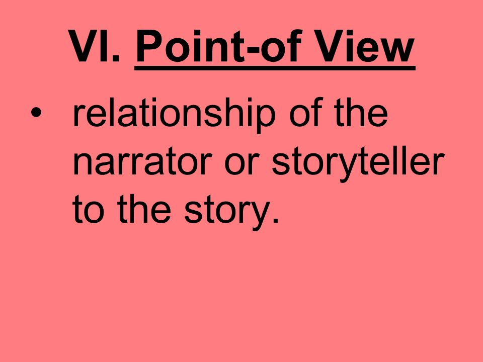 VI. Point-of View relationship of the narrator or storyteller to the story.