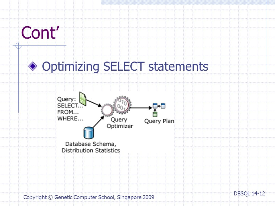 DBSQL Copyright © Genetic Computer School, Singapore 2009 Cont' Optimizing SELECT statements