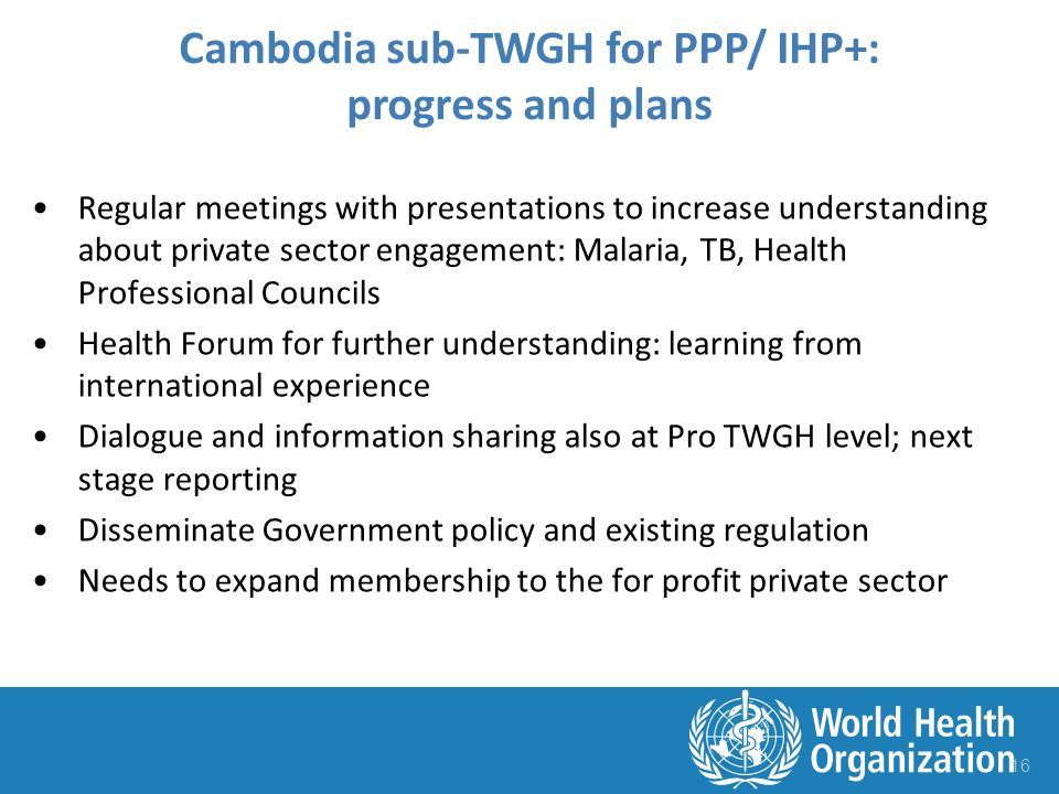 Regular meetings with presentations to increase understanding about private sector engagement: Malaria, TB, Health Professional Councils Health Forum for further understanding: learning from international experience Dialogue and information sharing also at Pro TWGH level; next stage reporting Disseminate Government policy and existing regulation Needs to expand membership to the for profit private sector 16 Cambodia sub-TWGH for PPP/ IHP+: progress and plans