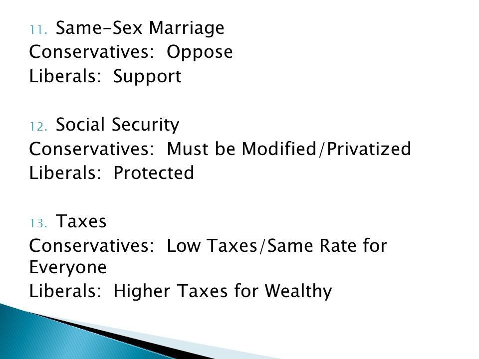 11. Same-Sex Marriage Conservatives: Oppose Liberals: Support 12.