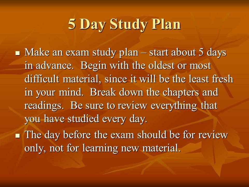 6 5 day study plan