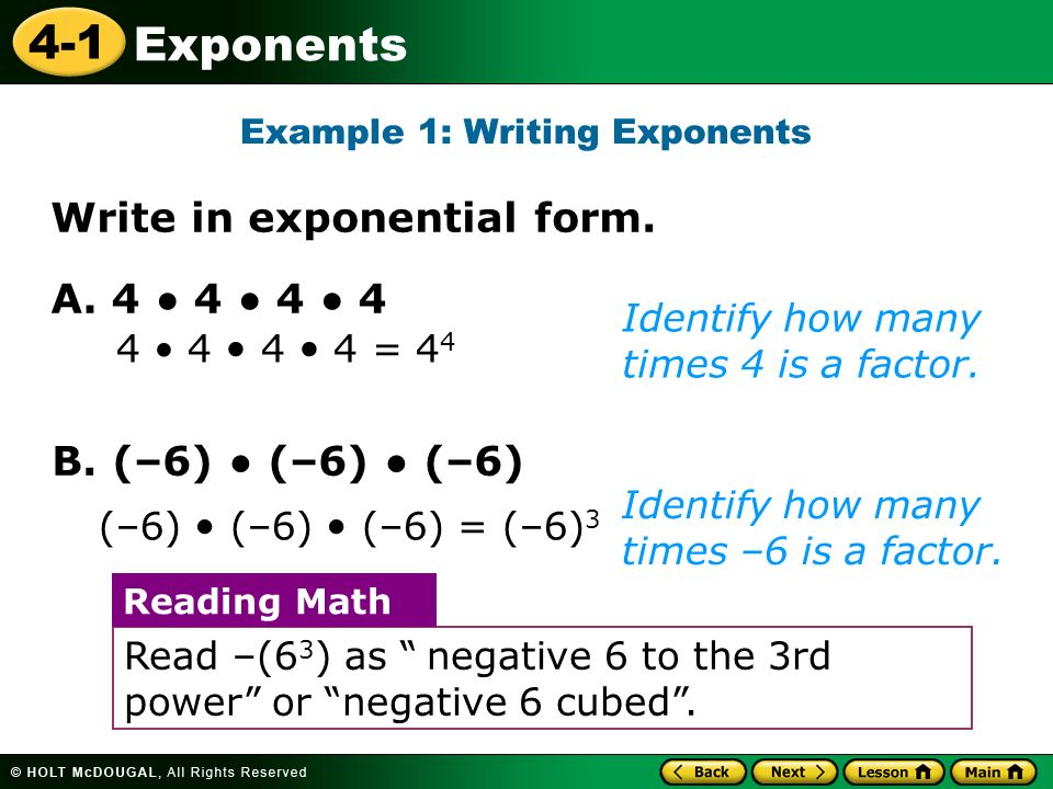 4 1 Exponents 4 1 4 2 Exponents And Integer Exponents If A Number Is