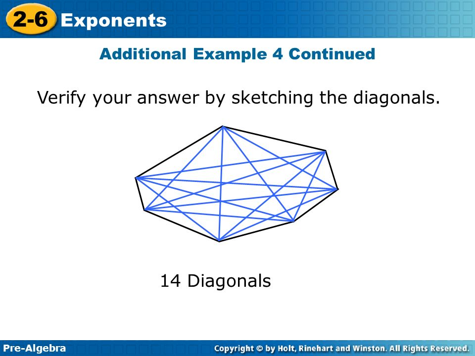Pre-Algebra 2-6 Exponents Verify your answer by sketching the diagonals.