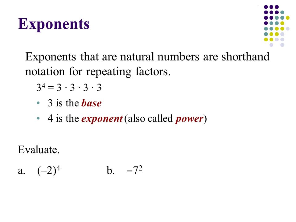 Exponents Exponents that are natural numbers are shorthand notation for repeating factors.