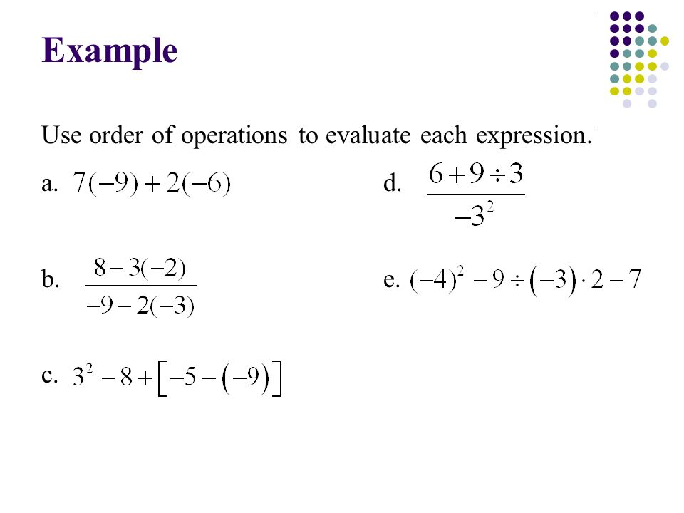 Use order of operations to evaluate each expression. a. d. b. e. c. Example
