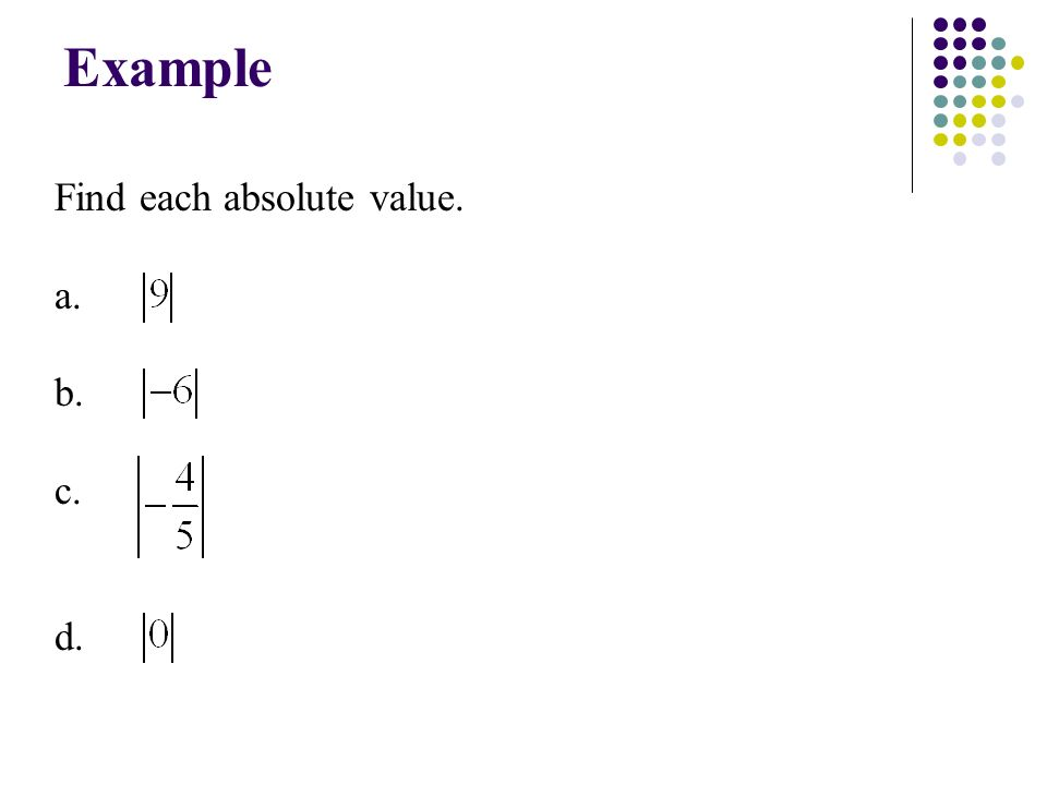 Example Find each absolute value. a. b. c. d.