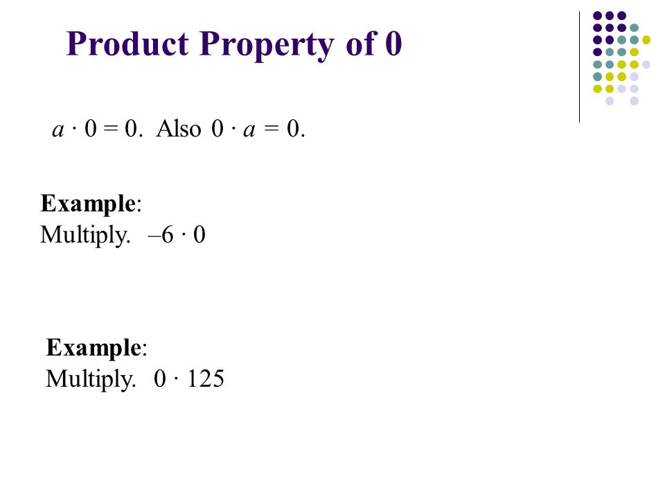 Product Property of 0 a · 0 = 0. Also 0 · a = 0. Example: Multiply.