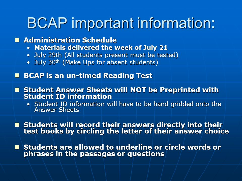 Broward County Assessment for Promotion BCAP Grade 3 Alternate