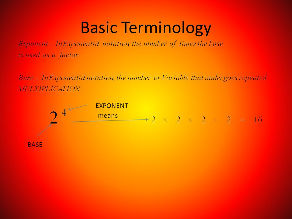 Basic Terminology BASE EXPONENT means