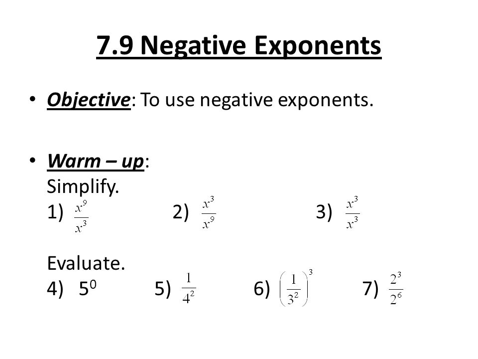 79 Negative Exponents Objective To Use Warm. 79 Negative Exponents Objective To Use. Worksheet. 8 2 Zero And Negative Exponents Worksheet At Clickcart.co
