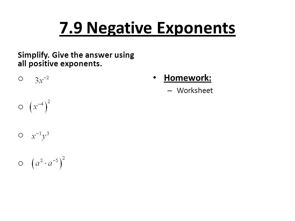 79 Negative Exponents Objective To Use Warm. 79 Negative Exponents Simplify Give The Answer Using All Positive. Worksheet. Negative Exponents Variables Worksheet At Clickcart.co