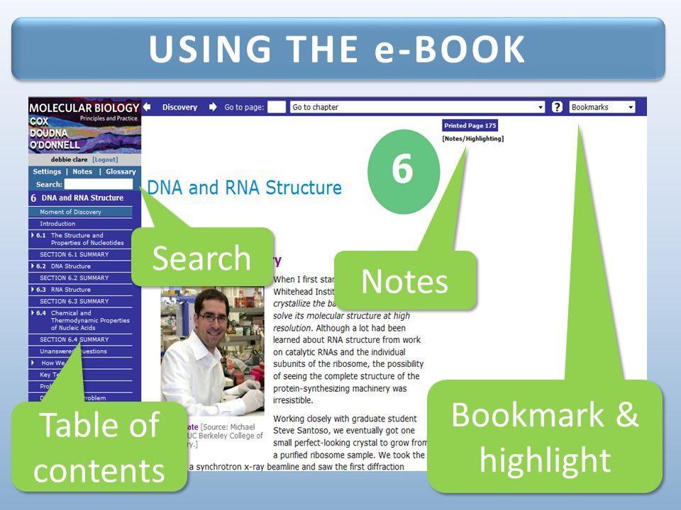 Ready to get started online study tools for molecular biology 1 st 14 using the e book bookmark highlight notes search table of contents fandeluxe Choice Image