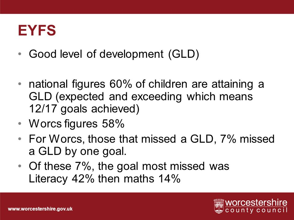 EYFS Good level of development (GLD) national figures 60% of children are attaining a GLD (expected and exceeding which means 12/17 goals achieved) Worcs figures 58% For Worcs, those that missed a GLD, 7% missed a GLD by one goal.