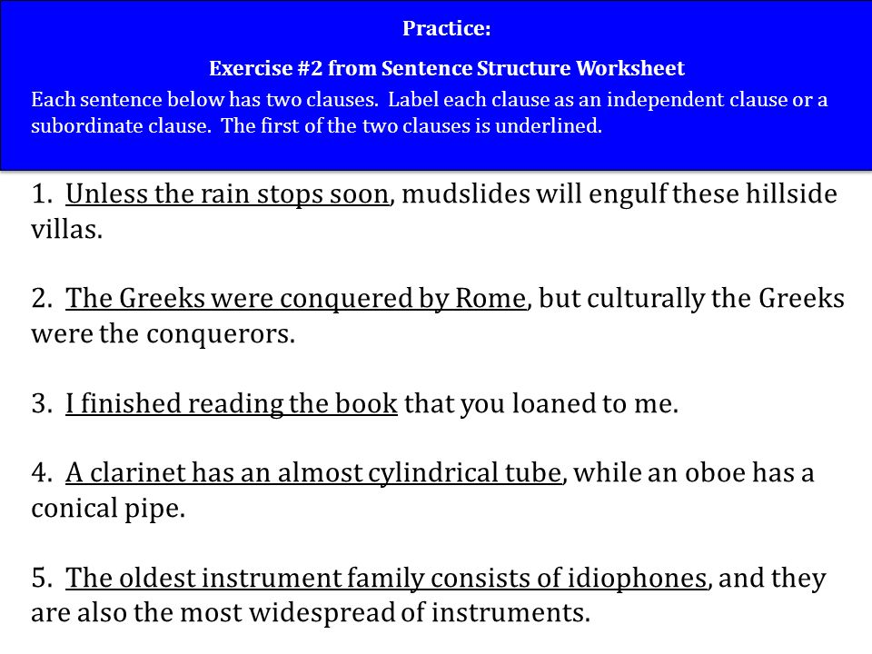 Sentence Structure Good Writers Vary The Structure Of Their