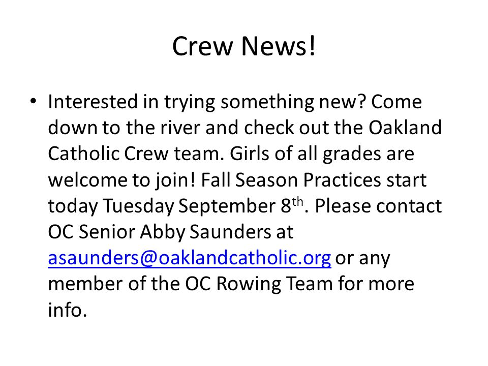 Crew News. Interested in trying something new.