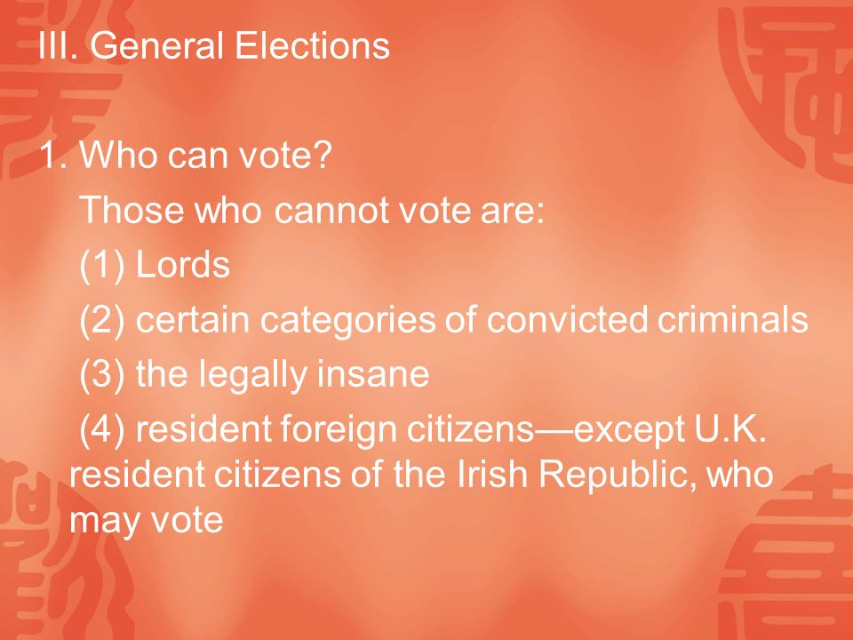 III. General Elections 1. Who can vote.