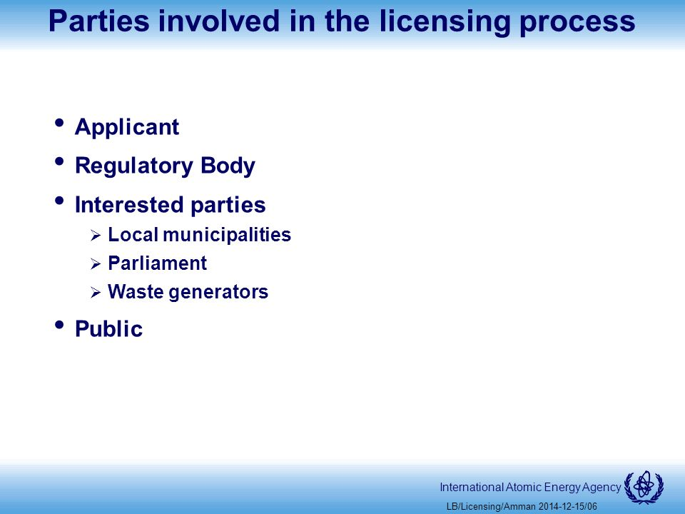 International Atomic Energy Agency Parties involved in the licensing process Applicant Regulatory Body Interested parties  Local municipalities  Parliament  Waste generators Public LB/Licensing/Amman /06