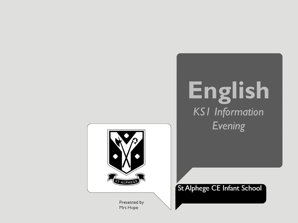 Presented by Mrs Hope St Alphege CE Infant School English KS1 Information Evening