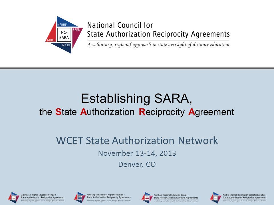 Establishing Sara The State Authorization Reciprocity Agreement