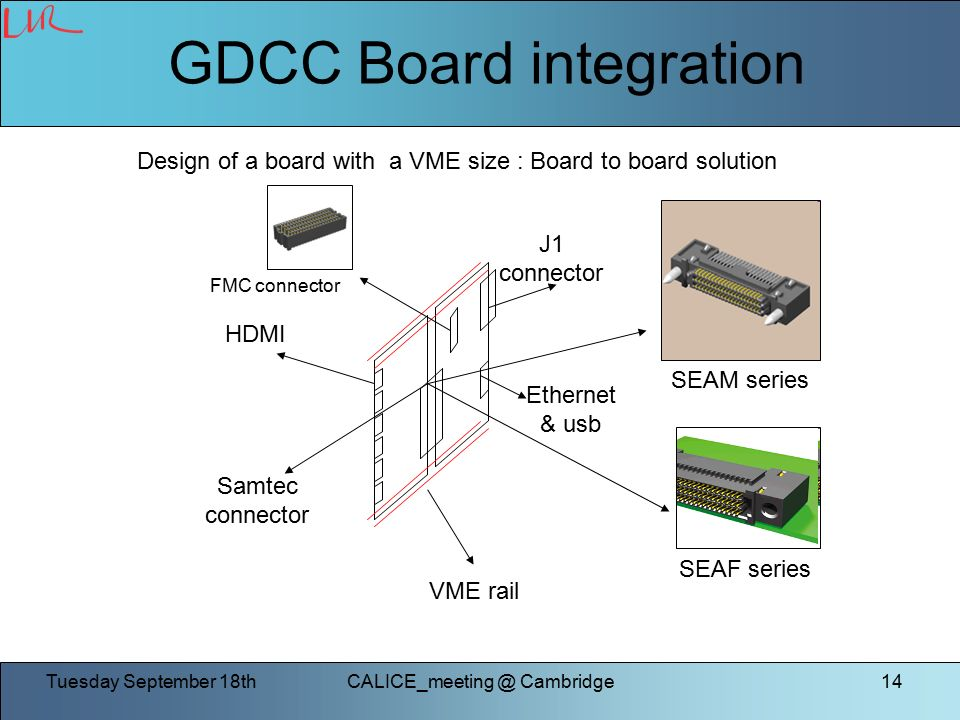Tuesday September Cambridge14 GDCC Board integration VME rail Samtec connector J1 connector HDMI Ethernet & usb SEAM series SEAF series Design of a board with a VME size : Board to board solution FMC connector