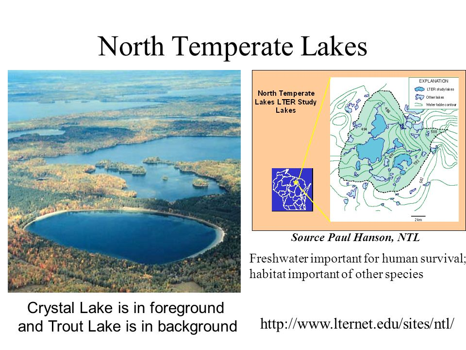 North Temperate Lakes Crystal Lake is in foreground and Trout Lake is in background http://www.lternet.edu/sites/ntl/ Freshwater important for human survival; habitat important of other species Source Paul Hanson, NTL