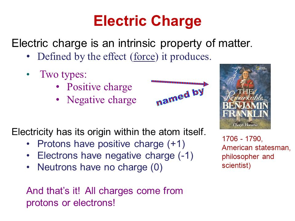 1706 1790 american statesman philosopher and scientist electric charge is an intrinsic